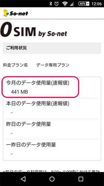 0SIMの今月の通信量を確認できるページ