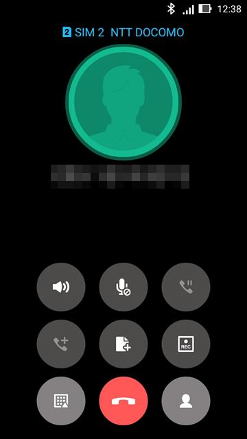 FOMA SIMでの通話画面