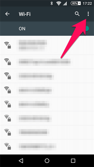 AndroidのWi-Fi項目
