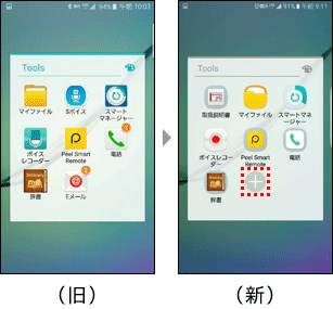 ドコモ版GalaxyS6とS6 edgeのフォルダに「+」ボタンが追加された