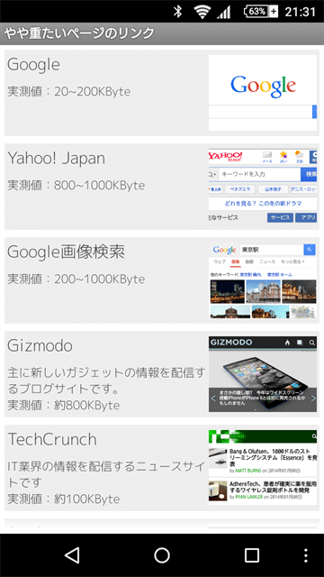 GoogleやGizmodoなど有名サイトを開くことができる