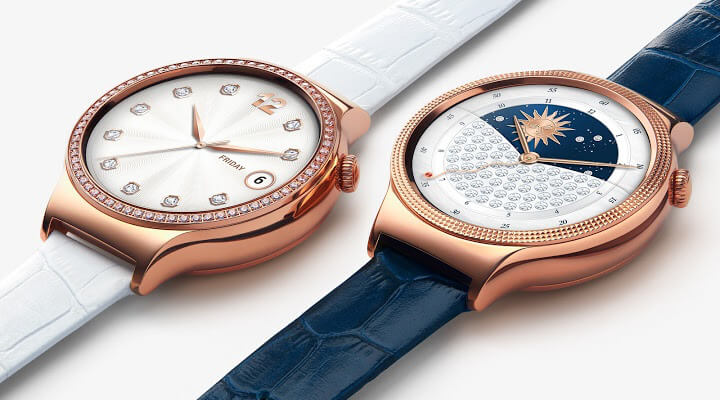 Huawei Watch for WomenのJewelとElegantの2モデルを並べた