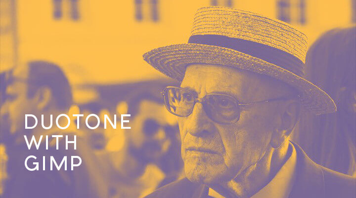 GIMPでDuotone加工したおじいさんの写真