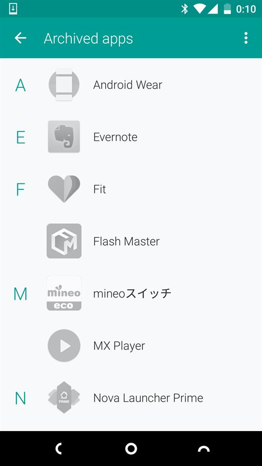 クラウドにバックアップされた「Archived Apps」画面