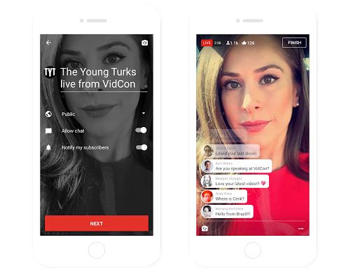 YouTubeアプリのLIVE配信画面