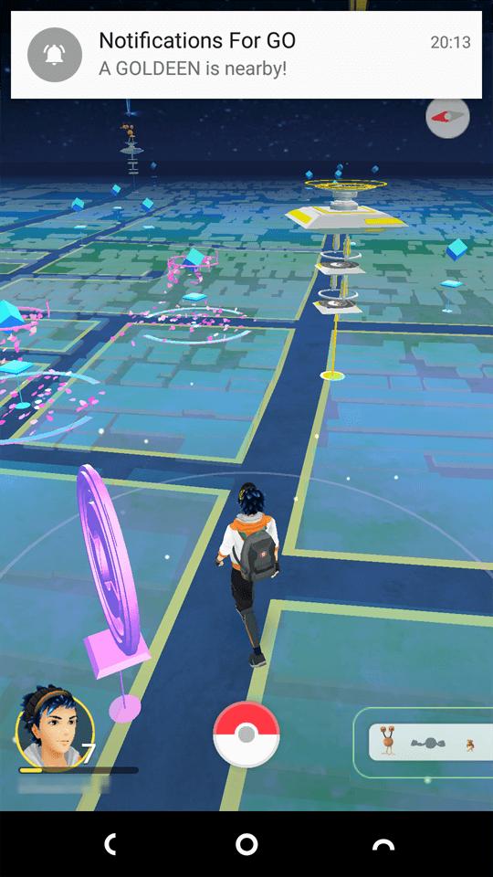 Pokémon GOにてトサキントに遭遇した